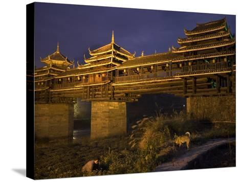 Chengyang Wind and Rain Bridge at Night-Tino Soriano-Stretched Canvas Print