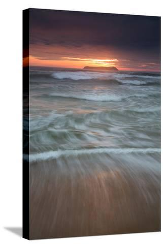 Long Exposure of the Sea on Mole Beach on Florianopolis Island at Sunrise-Alex Saberi-Stretched Canvas Print