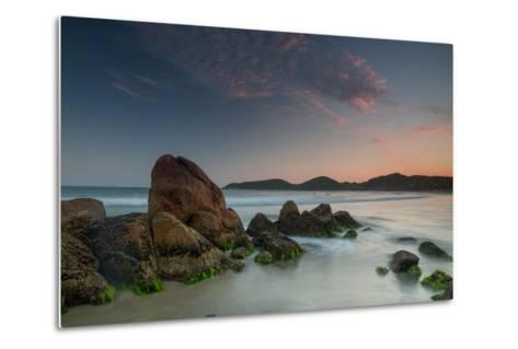 Scenic View of Praia Do Rosa Beach in Florianopolis Mainland at Sunset-Alex Saberi-Metal Print