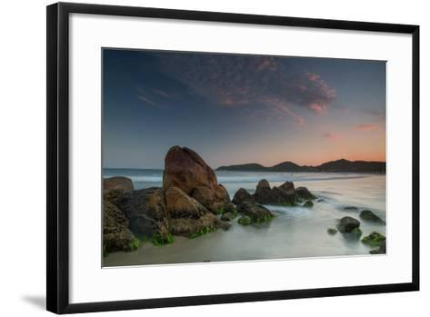 Scenic View of Praia Do Rosa Beach in Florianopolis Mainland at Sunset-Alex Saberi-Framed Art Print