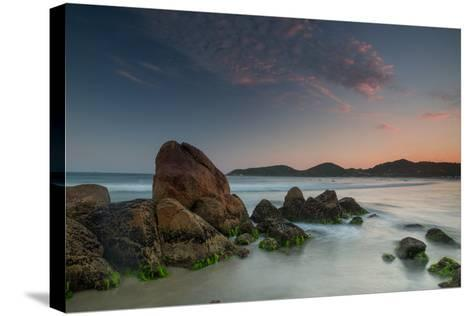Scenic View of Praia Do Rosa Beach in Florianopolis Mainland at Sunset-Alex Saberi-Stretched Canvas Print
