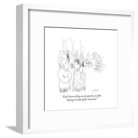 """""""Carl's been selling our perspective to folks hoping to study up for next ?"""" - Cartoon-Emily Flake-Framed Art Print"""