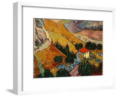 Landscape with House and Ploughman, 1889-Vincent van Gogh-Framed Art Print