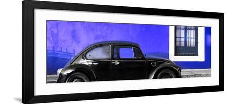 ¡Viva Mexico! Panoramic Collection - The Black VW Beetle Car with Royal Blue Wall-Philippe Hugonnard-Framed Art Print