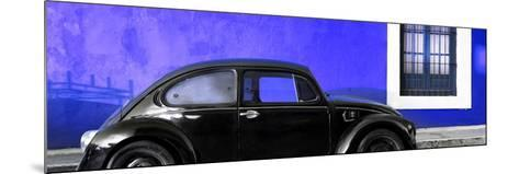 ¡Viva Mexico! Panoramic Collection - The Black VW Beetle Car with Royal Blue Wall-Philippe Hugonnard-Mounted Photographic Print