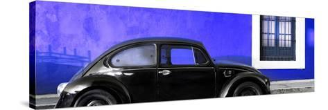 ¡Viva Mexico! Panoramic Collection - The Black VW Beetle Car with Royal Blue Wall-Philippe Hugonnard-Stretched Canvas Print