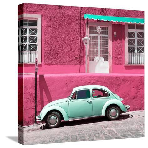¡Viva Mexico! Square Collection - VW Beetle Car and Pink Wall-Philippe Hugonnard-Stretched Canvas Print