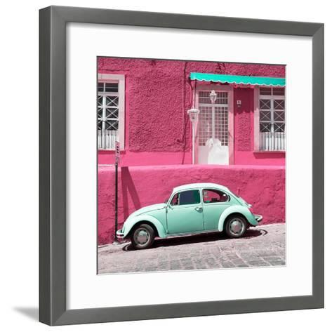 ¡Viva Mexico! Square Collection - VW Beetle Car and Pink Wall-Philippe Hugonnard-Framed Art Print