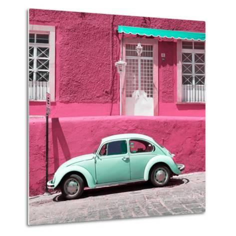 ¡Viva Mexico! Square Collection - VW Beetle Car and Pink Wall-Philippe Hugonnard-Metal Print