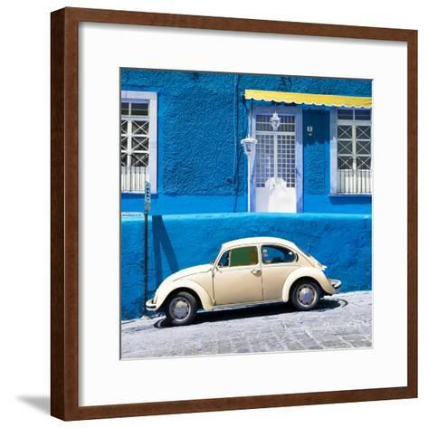 ¡Viva Mexico! Square Collection - VW Beetle Car and Blue Wall-Philippe Hugonnard-Framed Art Print