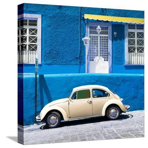 ¡Viva Mexico! Square Collection - VW Beetle Car and Blue Wall-Philippe Hugonnard-Stretched Canvas Print