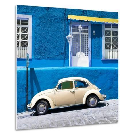 ¡Viva Mexico! Square Collection - VW Beetle Car and Blue Wall-Philippe Hugonnard-Metal Print