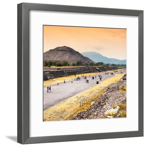 ¡Viva Mexico! Square Collection - Teotihuacan Pyramids at Sunset-Philippe Hugonnard-Framed Art Print