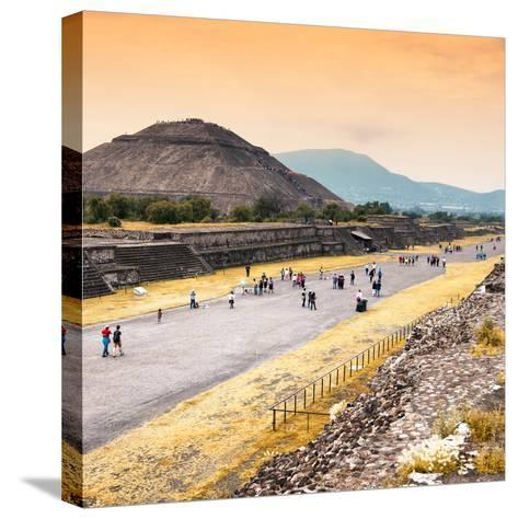 ¡Viva Mexico! Square Collection - Teotihuacan Pyramids at Sunset-Philippe Hugonnard-Stretched Canvas Print