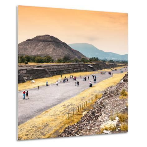 ¡Viva Mexico! Square Collection - Teotihuacan Pyramids at Sunset-Philippe Hugonnard-Metal Print
