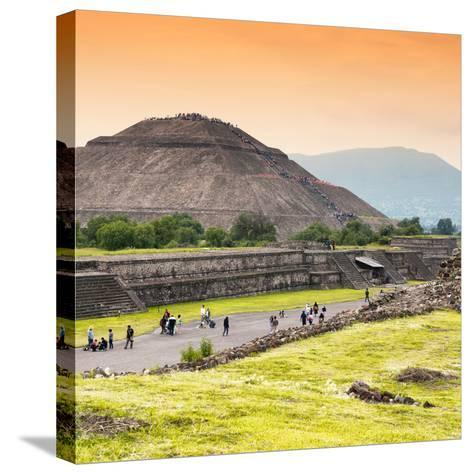 ¡Viva Mexico! Square Collection - Teotihuacan Pyramids at Sunset II-Philippe Hugonnard-Stretched Canvas Print