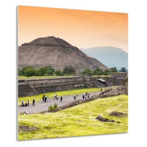 ¡Viva Mexico! Square Collection - Teotihuacan Pyramids at Sunset II-Philippe Hugonnard-Metal Print