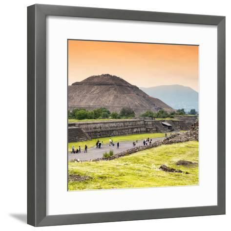 ¡Viva Mexico! Square Collection - Teotihuacan Pyramids at Sunset II-Philippe Hugonnard-Framed Art Print