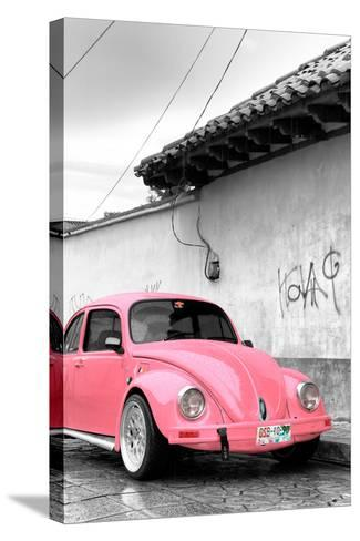 ¡Viva Mexico! B&W Collection - Pink VW Beetle in San Cristobal de Las Casas-Philippe Hugonnard-Stretched Canvas Print