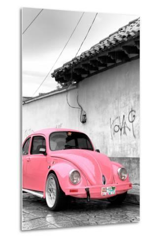 ¡Viva Mexico! B&W Collection - Pink VW Beetle in San Cristobal de Las Casas-Philippe Hugonnard-Metal Print