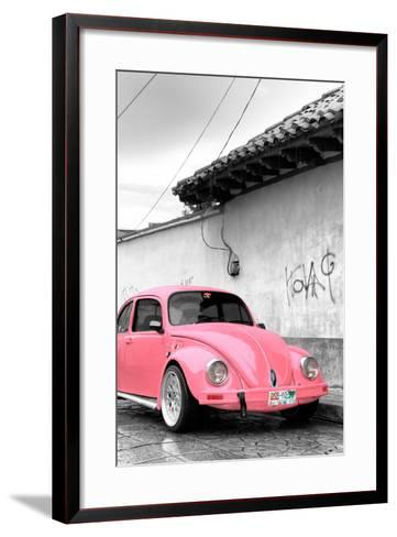 ¡Viva Mexico! B&W Collection - Pink VW Beetle in San Cristobal de Las Casas-Philippe Hugonnard-Framed Art Print