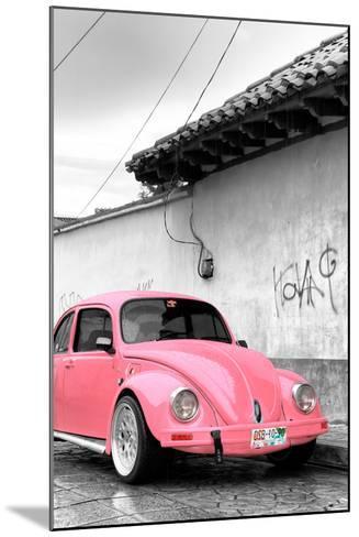 ¡Viva Mexico! B&W Collection - Pink VW Beetle in San Cristobal de Las Casas-Philippe Hugonnard-Mounted Photographic Print