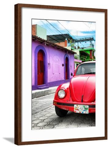 ¡Viva Mexico! Collection - Red VW Beetle Car in a Colorful Street-Philippe Hugonnard-Framed Art Print