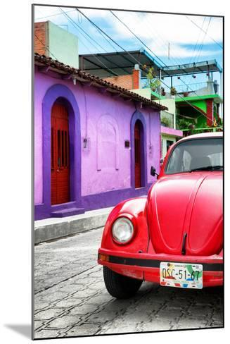 ¡Viva Mexico! Collection - Red VW Beetle Car in a Colorful Street-Philippe Hugonnard-Mounted Photographic Print
