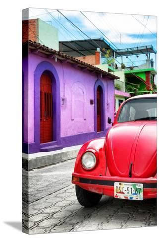 ¡Viva Mexico! Collection - Red VW Beetle Car in a Colorful Street-Philippe Hugonnard-Stretched Canvas Print