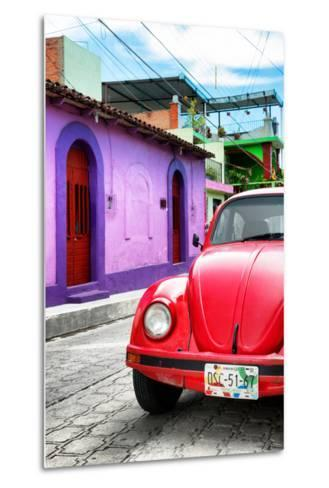 ¡Viva Mexico! Collection - Red VW Beetle Car in a Colorful Street-Philippe Hugonnard-Metal Print