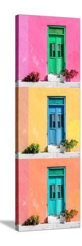 ¡Viva Mexico! Panoramic Collection - Tree Colorful Doors XII-Philippe Hugonnard-Stretched Canvas Print