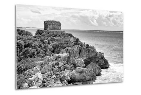 ?Viva Mexico! B&W Collection - Tulum Mayan Archaeological Site-Philippe Hugonnard-Metal Print