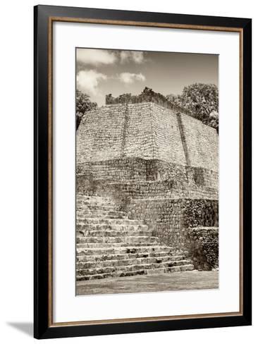?Viva Mexico! B&W Collection - Maya Archaeological Site IV - Edzna-Philippe Hugonnard-Framed Art Print