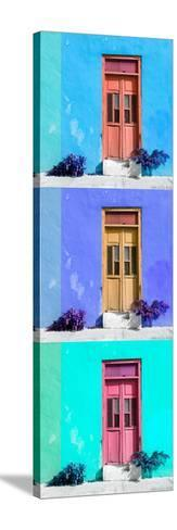 ¡Viva Mexico! Panoramic Collection - Tree Colorful Doors XIII-Philippe Hugonnard-Stretched Canvas Print