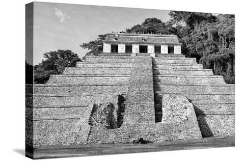 ?Viva Mexico! B&W Collection - Mayan Temple of Inscriptions V - Palenque-Philippe Hugonnard-Stretched Canvas Print