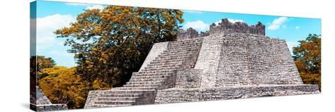 ¡Viva Mexico! Panoramic Collection - Maya Archaeological Site with Fall Colors - Campeche-Philippe Hugonnard-Stretched Canvas Print