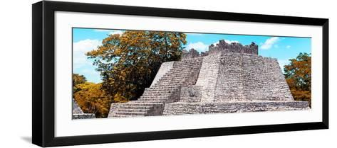 ¡Viva Mexico! Panoramic Collection - Maya Archaeological Site with Fall Colors - Campeche-Philippe Hugonnard-Framed Art Print