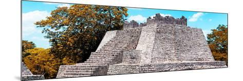 ¡Viva Mexico! Panoramic Collection - Maya Archaeological Site with Fall Colors - Campeche-Philippe Hugonnard-Mounted Photographic Print