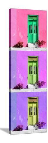 ¡Viva Mexico! Panoramic Collection - Tree Colorful Doors XV-Philippe Hugonnard-Stretched Canvas Print
