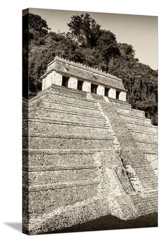 ?Viva Mexico! B&W Collection - Mayan Temple of Inscriptions VIII - Palenque-Philippe Hugonnard-Stretched Canvas Print