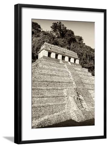 ?Viva Mexico! B&W Collection - Mayan Temple of Inscriptions VIII - Palenque-Philippe Hugonnard-Framed Art Print