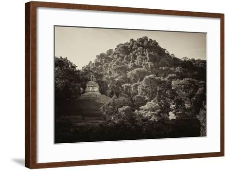 ?Viva Mexico! B&W Collection - Mayan Ruins in Palenque at Sunrise-Philippe Hugonnard-Framed Art Print