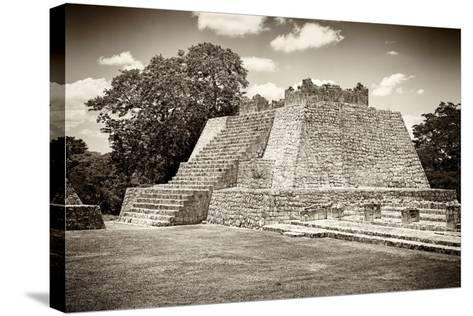 ¡Viva Mexico! B&W Collection - Maya Archaeological Site VII - Edzna-Philippe Hugonnard-Stretched Canvas Print