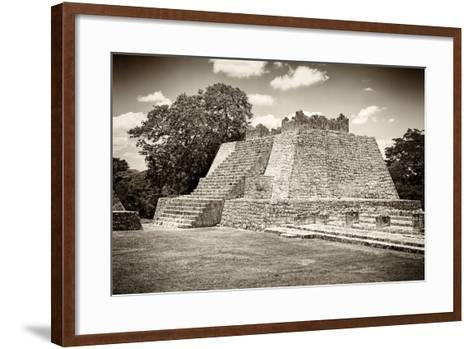 ¡Viva Mexico! B&W Collection - Maya Archaeological Site VII - Edzna-Philippe Hugonnard-Framed Art Print