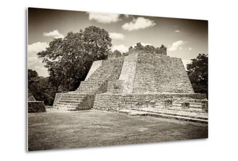 ¡Viva Mexico! B&W Collection - Maya Archaeological Site VII - Edzna-Philippe Hugonnard-Metal Print