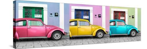 ¡Viva Mexico! Panoramic Collection - Three VW Beetle Cars with Colors Street Wall XV-Philippe Hugonnard-Stretched Canvas Print