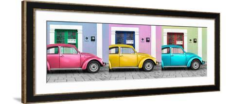 ¡Viva Mexico! Panoramic Collection - Three VW Beetle Cars with Colors Street Wall XV-Philippe Hugonnard-Framed Art Print