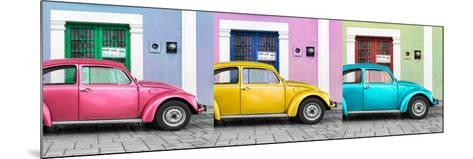 ¡Viva Mexico! Panoramic Collection - Three VW Beetle Cars with Colors Street Wall XV-Philippe Hugonnard-Mounted Photographic Print