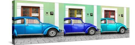 ¡Viva Mexico! Panoramic Collection - Three VW Beetle Cars with Colors Street Wall XVI-Philippe Hugonnard-Stretched Canvas Print