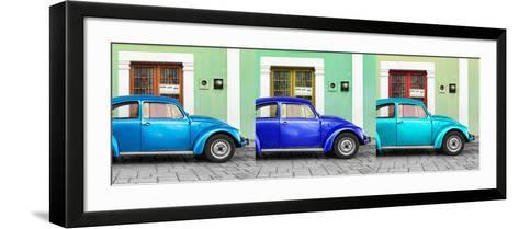 ¡Viva Mexico! Panoramic Collection - Three VW Beetle Cars with Colors Street Wall XVI-Philippe Hugonnard-Framed Art Print